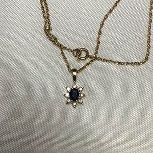 Jewelry - Blue Supplies/Diamonds pendant 14k yellow gold